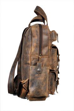 ecc9ec0a726131 Devil Hunter 18 Leather Backpack for men/women Brown Leather Laptop  Backpack ** Visit