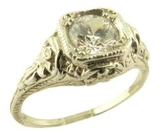Antique Style Sterling Silver Filigree .63ct Cubic Zirconia Ring Janeliunas Jewelry. $59.99