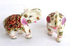 Rajasthani Handmade Elephant Pair Made Of Marble (Handicraft Item) by HandicraftsByNew on Etsy