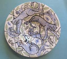 """Cats and Small Creatures "" Shallow bowl by Tiffany Wallace Ceramics SA 2016"