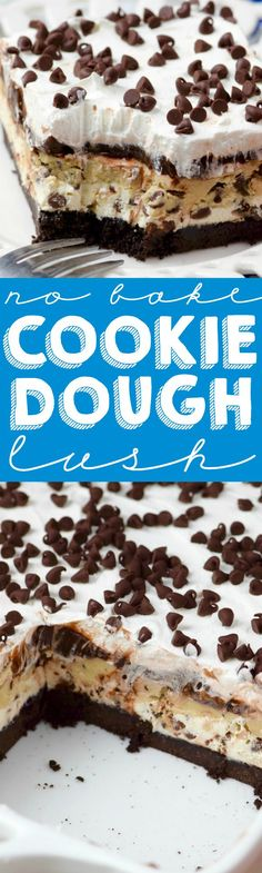 This Cookie Dough Lush is rich layer after rich layer, making for the most decadent amazing no bake dessert ever. Trying with gluten free oreo-type cookies and cup for cup gluten free flour to make gfree. Layered Desserts, Mini Desserts, No Bake Desserts, Easy Desserts, Delicious Desserts, Yummy Food, Amazing Dessert Recipes, Cold Desserts, Oreo Dessert