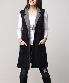6fb0173f12 Reborn Collection Black Cable-Knit Sleeveless Pocket Cardigan - Plus