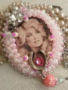 Honky Tonk Angel...   Gotta love the Dolly....the queen of country!  beaded pendant with vintage findings  $34