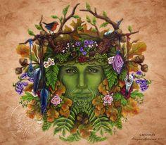 Greenman    Pagan Wiccan Print  Brigid Ashwood by BrightArrow, $15.00