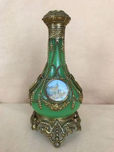 Antique Green Opaline W/ Beaded Bronze Mounted Perfume Bottle 5 Medallions #unknown