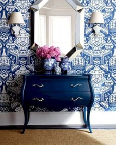 David Hicks for Clarence House Vases PIllow by WestEndAccents Blue Rooms, White Rooms, Muebles Shabby Chic, Interior And Exterior, Interior Design, Interior Ideas, Chinoiserie Chic, Chinoiserie Wallpaper, Foyer Wallpaper