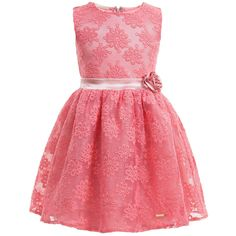 Guess Pink Embroidered Tulle Dress with Satin Rose at Childrensalon.com