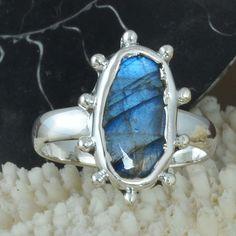 NEW DESIGN 925 STERLING SILVER LABRADORITE GEMSTONE RING 3.68g DJR9706 SZ-8 #Handmade #Ring