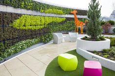 The vegetated green wall not only provides a natural and dramatic edge to the respite roof garden, it also serves to screen the sizable rooftop hospital ductwork from view. Photo: ©2015 Hanson Photo Graphic