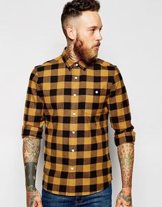 Image 1 of ASOS Check Shirt In Buffalo Plaid With Neps