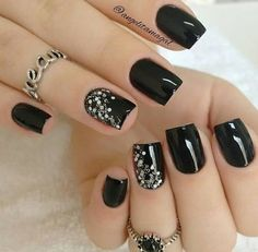 80 incredible black nail art designs for women and girls .- 80 incredible black nail art designs for women and girls - Black Nails With Glitter, Black Coffin Nails, Matte Black Nails, Black Acrylic Nails, Black Nail Art, Black Nails Short, Black And Purple Nails, Black Manicure, Sparkly Nails