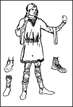 Man wearing tunic and ankle garters costume mid twelfth century.