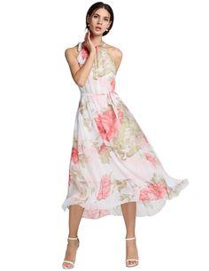 Ladies Chiffon Sleeveless Flouncing Floral Long Sundress