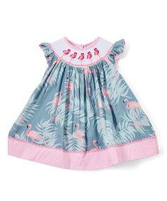 Gray & Pink Flamingo Smocked Bishop Dress - Infant, Toddler & Girls #babygirldress #toddlerfashion #zulily