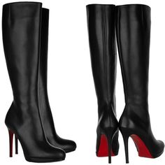 Pre-owned Christian Louboutin Bianca Botta Black Leather Boots (4.430 BRL) ❤ liked on Polyvore featuring shoes, boots, black leather, round cap, black knee high boots, tall boots, side zipper boots and christian louboutin knee high boots