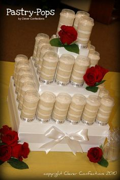 Pastry-Pops Tower:  Alterating layers of cake and icing in a clever push-pop container!  A great alternative for a small wedding, shower, and/or rehearsal dinner!