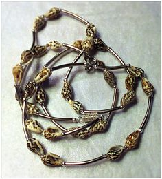 Shell and metal beaded necklace bracelet set. Plus size.  on Etsy, $27.00