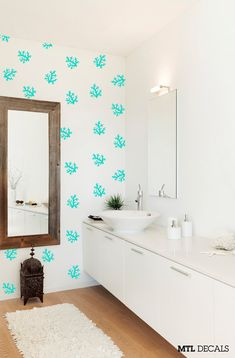 Hey, I found this really awesome Etsy listing at https://www.etsy.com/listing/234008047/40-x-coral-pattern-wall-decal-bathroom