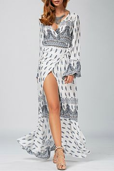$23.91 Plunging Neck Ethnic Print High Slit Wrap Dress