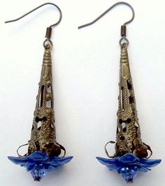 Blue Flower Bronze Cone Earrings w/ Swarovski Crystals by CrashsCuriosities on Etsy