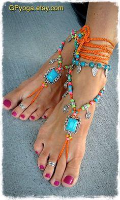 Turquoise Boho BAREFOOT Sandals Sun charm FESTIVAL Orange