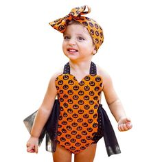 Baby Girl Clothes Cute Toddler Kids Baby Sleeveless Pumpkin Print Girls Halloween Outfits Clothes Romper Jumpsuit Kids Clothes  Price: 10.86 & FREE Shipping  #fashion #sport #tech #lifestyle Pumpkin Halloween Costume, Halloween Outfits, Halloween Ideas, Party Fashion, Cute Fashion, Jumpsuit Outfit, Cute Toddlers, Baby Kids, Girl Outfits
