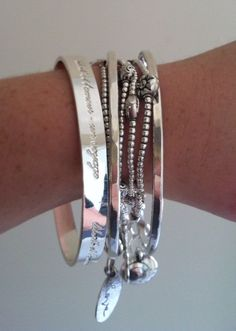 Shiny silver bracelet stack - bangles mixed and matched with silver beaded bracelets for a boho look . Silver Necklaces, Sterling Silver Jewelry, Silver Earrings, Silver Jewellery, Silver Bangles, Chunky Silver Rings, Dress Jewellery, Pearl Earrings, Topaz Jewelry