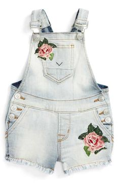 Hudson Kids Embroidered Short Overalls (Baby Girls)