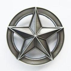 Beltespenne - Antique Brushed Silver Circle Star - $129nok