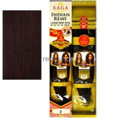 "Saga Indian Remy Long Loose Deep 4-pcs 16/16/18/18"" - Color 99J - Indian Remi Weaving - 4 pcs + closure"