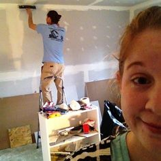 KK on Instagram: A couple that dry walls together stays together! Chris actually let me help...