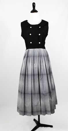 50s Dress / Black Dress / Plaid Dress / White by vintagedivineshop, $90.00