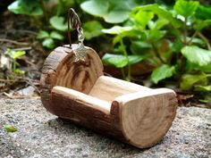 Wooden Fairy Cradle Rocking Cradle Fairy Furniture by Smallhavens