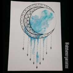 Mandala moon with watercolor #mandalamoon #watercolortattoodesigns #watercolor…