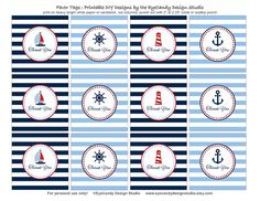 Printable Nautical Favor Tags / Thank You Tags - Nautical Party Collection - EyeCandy Design Studio