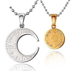 full moon pendants for couples | Engravable Interlocking Moon Couple Necklace Personalized Couples ...