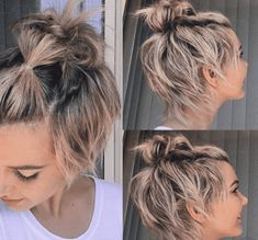 Who's says you have to pick between a top knot or a pixie cut? The trick is to do one little bubble pony right in the front to keep your shaggy bangs up, then top knot it up!–This is adorable! Growing Out Short Hair Styles, Growing Out Hair, Short Hair Cuts, Curly Hair Styles, Short Pixie, Growing Out Undercut, Styling Short Hair Bob, Growing Out Pixie Cut, Very Short Hair Updo