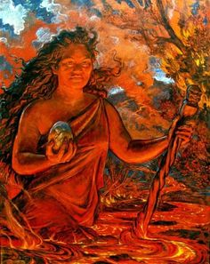 """""""O female aumakua and ancestral chieftesses. Female aumakua at the rising and setting places of the sun, Female (spirits) in the firmaments of the heaven and of the clouds. . . To all the female aumakua; it is yours (the mana) to brush aside darkness, brush aside death, brush aside trouble.""""  (prayer chant from """"Ka Po'e Kahiko""""; painting by A. Johnson.)"""