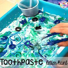 Toothpaste letter hunt! Dental health themed activities and centers for preschool, pre-k, and kindergarten (FREEBIES too) #dentalhealththeme #preschool #pre-k #tooththeme