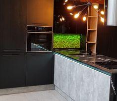 Modern interior design : preserved reindeer moss kitchen back splash. Kitchen Backsplash, Kitchen Cabinets, Modern Interior Design, Reindeer, Urban, Home Decor, Decoration Home, Modern Interior Decorating, Room Decor