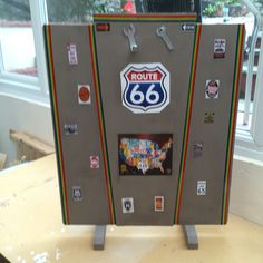 Fun Route 66 made to hide boring fireplace