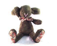 Plush bunny green floral rabbit stuffed Easter bunny by MySofties