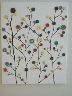 16X20 Canvas w/painted branches along with glued fall colored buttons