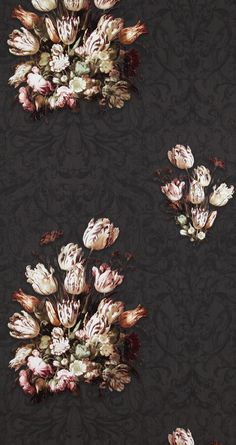 Dutch Masters inspired wallpaper in a beautiful rich, dark brown shade.