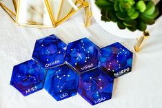 """SEWING PATTERN WEIGHTS - Z O D I A C - 3"""" HEXIES Pattern Weights, Hexagon Tiles, Glitter Stars, Watercolors, How To Draw Hands, Sewing Patterns, Hand Painted, Water Colors, Watercolor Paintings"""