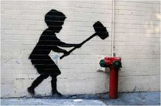 Banksy Hammer Boy Graffiti - Manhattan, New York, USA