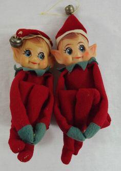 Large Knee Hugger Elf Christmas Elves Pixie Gold Ornament