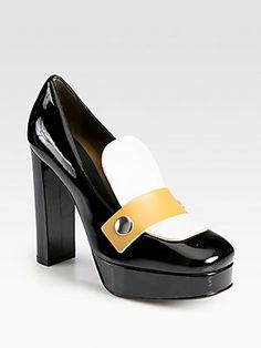Marni Colorblock+Patent+Leather+Loafer+Pumps