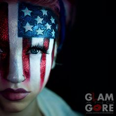 4th of July / American flag inspired face paint.  For more makeup looks and tutorials: www.instagram.com/Mykie_      www.youtube.com/GlamAndGoreMakeup