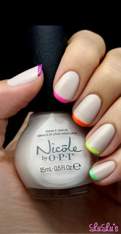 Nude and Neon French Tips